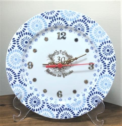Imagem 1 de 4 de Relógio Bodas De Perola 30 Anos De Casamento 20,5cm