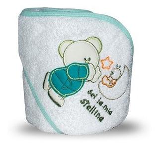 X3 Toallones Para Bebé Con Capucha Bordada Tipo Osito