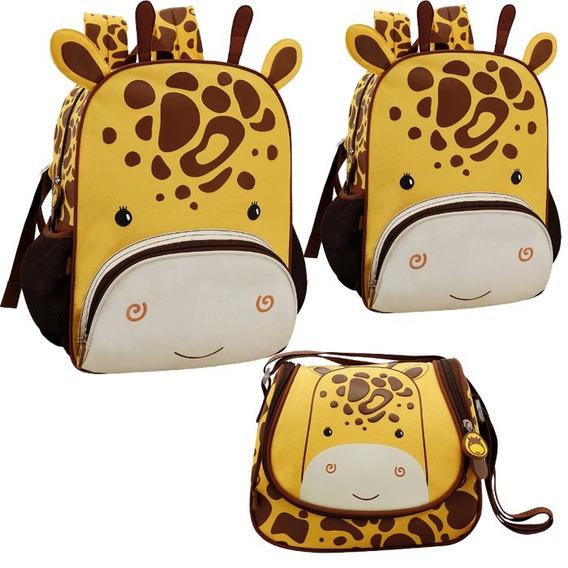 Kit Mochila Escolar Girafa Zoo Original Infantil + Brinde