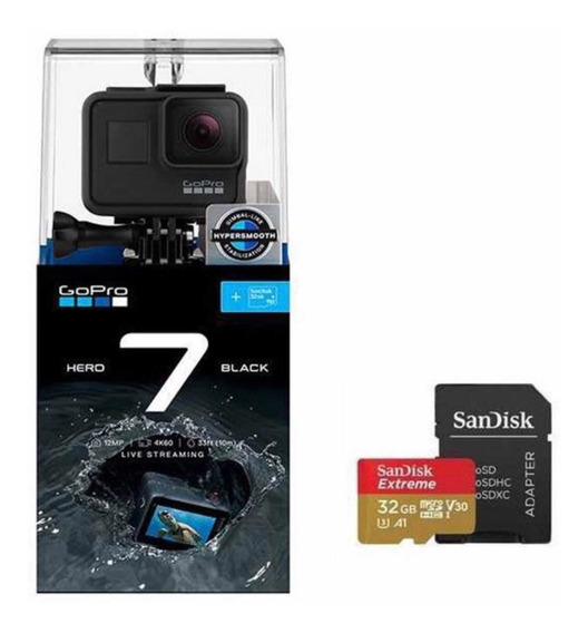 Câmera Digital Gopro Hero 7 Black 12mp 4 K Original+sd 32 Gb