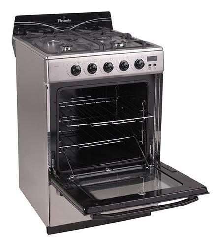 Imagen 1 de 2 de Cocina Florencia Recta 5558F gas natural 4 hornallas  acero inoxidable 220V puerta  con visor