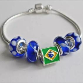 Pulseira Berloques Brasil Estilo Pandora