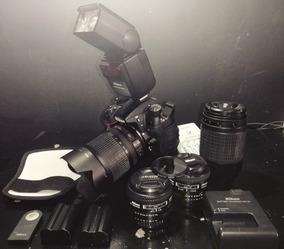 Kit Nikon D7000+lentes28mm+50mm+18-105mm+70-300mm+flash