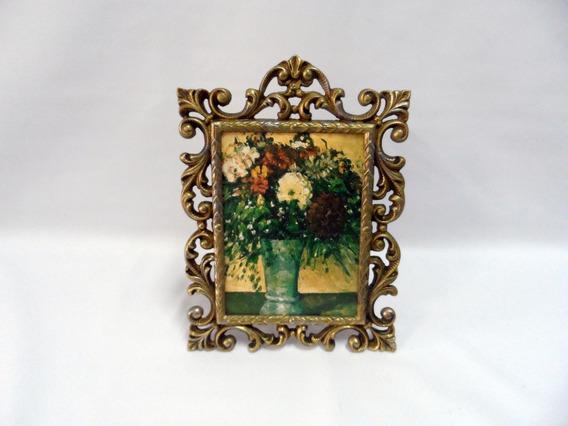 Porta Retrato Antigo De Bronze 4