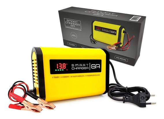 Mini Carregador De Bateria Inteligente 6ah 12v P/ Moto Suziki Bmw Dafra Triump Kasinski 110-220v Auto + Visor Digital !!