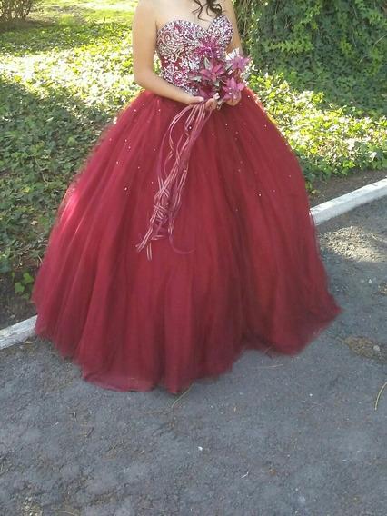 Vestido De Xv Años Color Rojo Quemado Con Pedrería