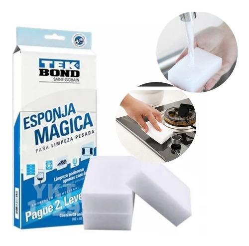Imagem 1 de 10 de 3 Esponjas Mágicas Melamina Tek Bond Limpeza Pesada Original