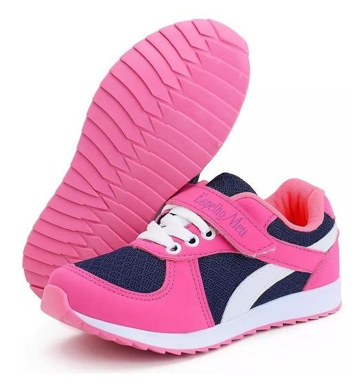 Tênis Infantil Feminino Juvenil Rosa Pink Menina Botinho 661