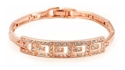 Bracelete Luxo Ouro Rose 18k Cravejado Com Cristal Austríaco