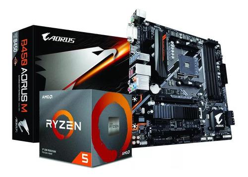 Kit  Amd Ryzen 5 3600x Gigabyte B450 Aorus M + 2 X 8gb 2666
