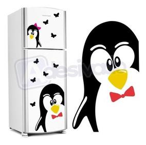 Adesivo Geladeira Cozinha Pinguim Gigante + Borboletas