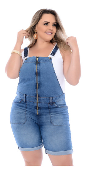 Macaquinho Jardineira Jeans Plus Size Zíper