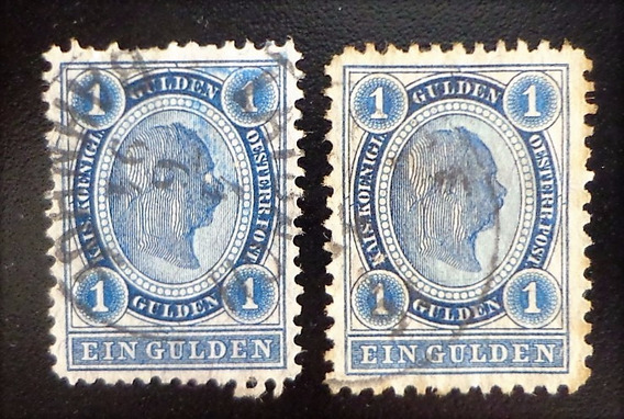 Austria, Lote 2 Sellos Yv 57 1 Gulden Dentados Usados L10394