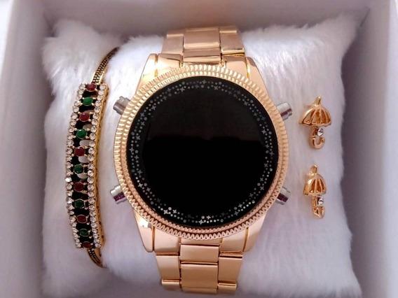 Relógio Feminino Digital Dourado Com Linda Pulseira E Brinco