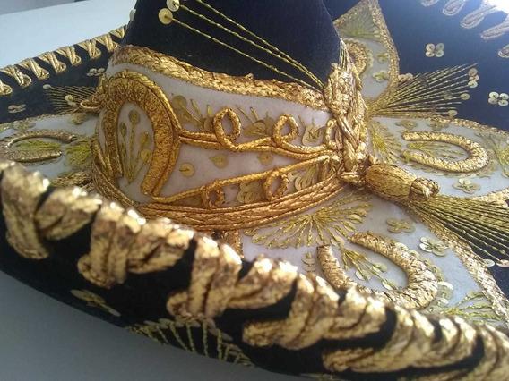 Sombrero Mexicano Bordado Charro Mariachi Marca Luna.