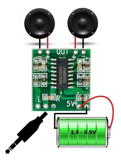 Pam8403 3w + 3w 5v 2a Potente Estéreo Instalação Fácil