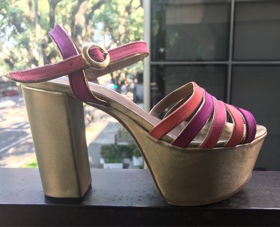 Zapatos Sandalias Fiesta Paruolo Plataforma Dorado 37 Mujer