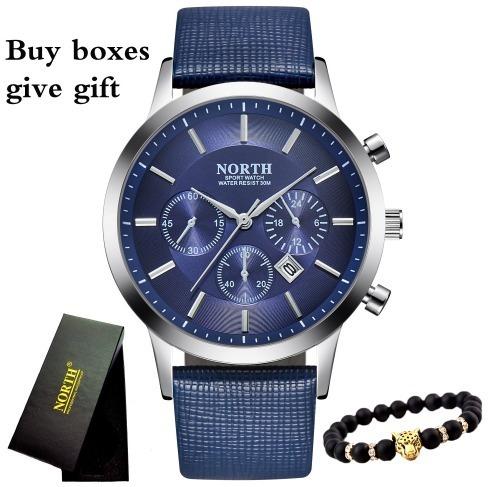 Relógio North Quartzo Com Pulseira De Couro Modelo N0001