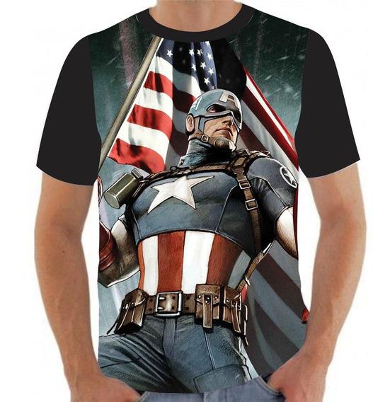 Camiseta Camisa Super Herói Capitão América- A36