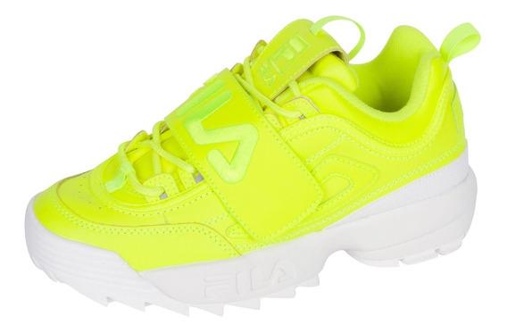 Tenis Casuales Fila Disruptor 2 Applique Amarillo Neon