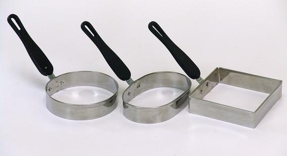 Kit 3 Modelador Para Fritar Ovos Inox Quadrado Oval Redondo