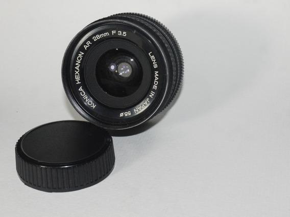 Lente Konica Hexanon Ar 28mm - 3.5 - Com Case Original