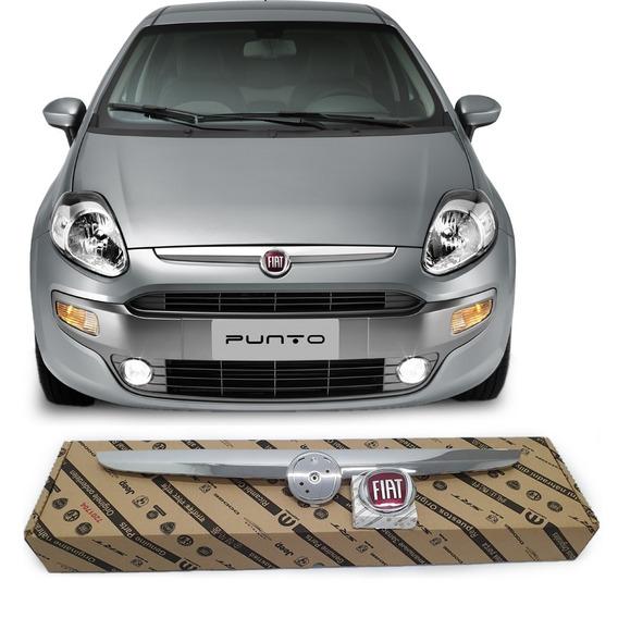 Moldura Grade Friso Cromada E Emblema Novo Original Fiat Punto Essence Attractive Sporting El 2013 A 2017 1.4 1.6 1.8