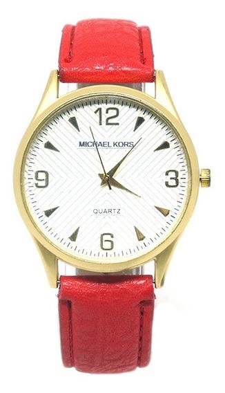 Relógio Feminino Dourado E Vermelho Importado.
