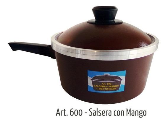 Salsera Eterna Rectificada Con Mango Y Tapa 3 Lts