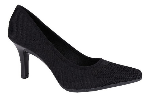 Sapato Scarpin Feminino Mississipi Tecido Salto8 Preto X7531