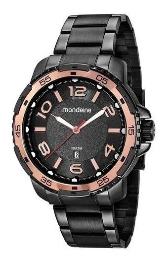 Relógio Casual Masculino Detalhe Rosé Preto 53703gpmvpe2