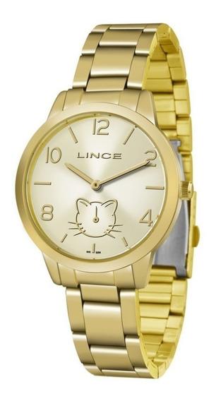 Relógio Analógico Lince Lmg4574l Champanhe Gato Gatinho