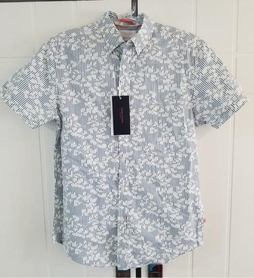 Camisa Blusa Branca / Azul Floral - Importada - Slim Fit