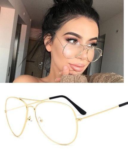 64df18e5b Armação Óculos Grau Feminino Aviador Metal 3025 3026 Dourado - R$ 45,00 em  Mercado Livre