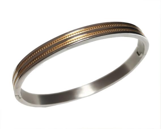 Bracelete Pulseira Feminino Aço Inox Com Folheado A Ouro