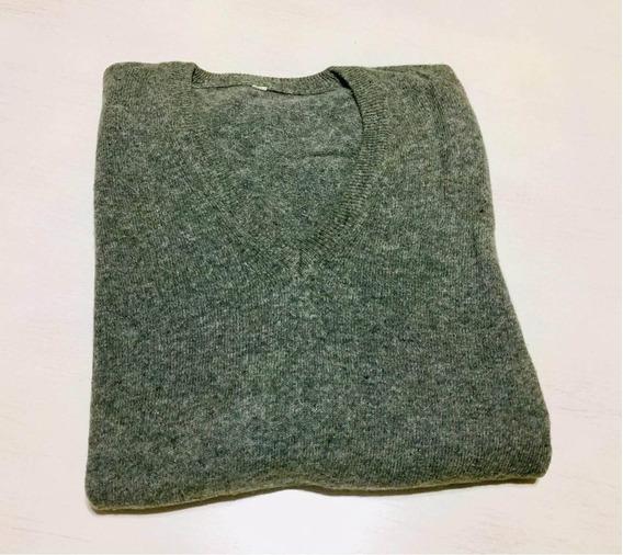 Sweater Hombre T. L Verde Musgo Escote V Impecable. Devoto