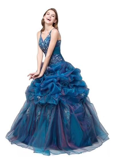 Vestido Quinceañera Azul Importado Varias Tallas