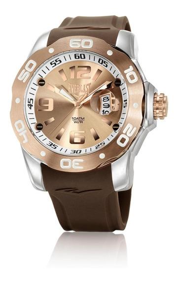 Relógio Pulso Everlast Masculino Calendário Marrom E523