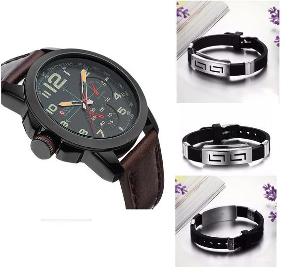 Relógio Masculino Curren Grátis Pulseira Metal Silicone