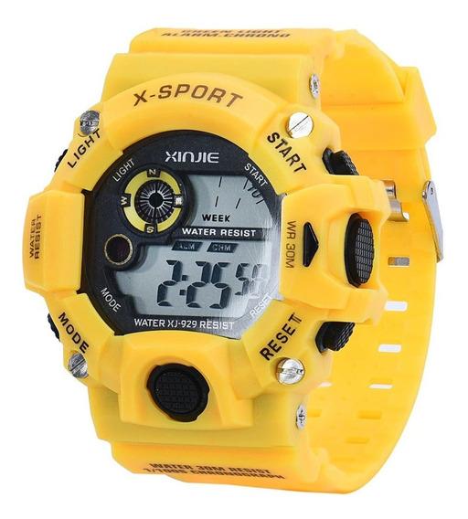 Relógio Digital Infantil Xinjie Amarelo - Leia A Descrição