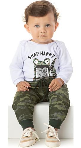 Roupa Bebê Conjunto Body Manga Longa Calça Saruel Camuflado