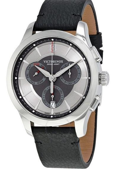 Relógio Victorinox 241748 Swiss Army Alliance Prata Couro