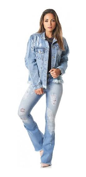 Calça Jeans Fem. Destroyer Empório Flare Cos Medio Ep9065
