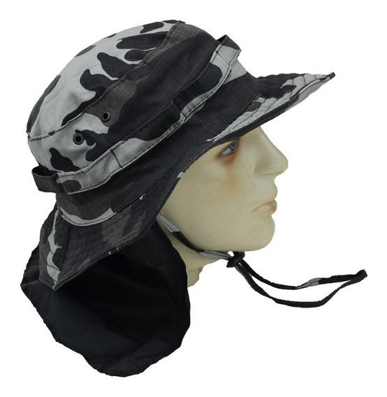 Chapéu Tático Boonie Militar Airsoft Camuflado Liso Com Aba