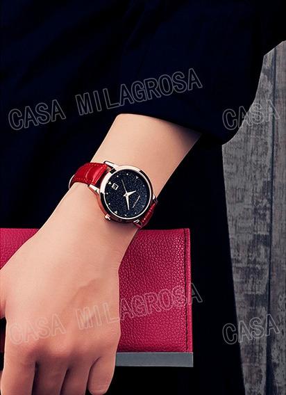 Relógio Casual Feminino Elegante Importado Couro Vermelho