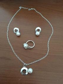 861ee310d097 Set De Collar + Aretes + Anillo De Perla Con Plata
