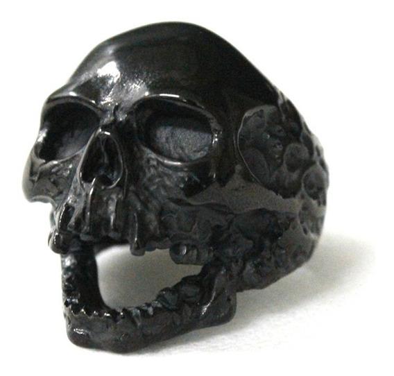 Anel Crânio Negro Em Aço Inoxidável 316l Punk Rock