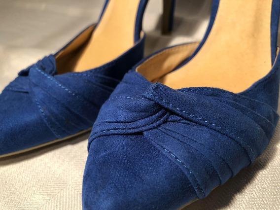 Zapatos De Taco Eco Cuero Y Gamuza Azul