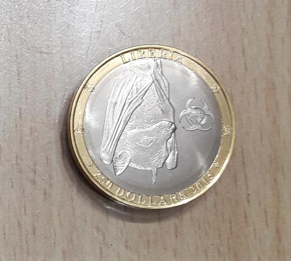 Moneda Bimetálica Liberia Murciélago Año 2015 S/c