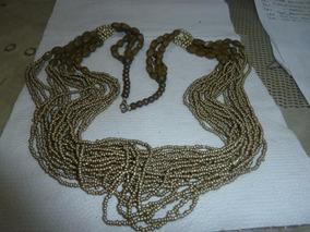 Colares 70cm Missangas Bronze Douradas Verdeolivas E Marrons